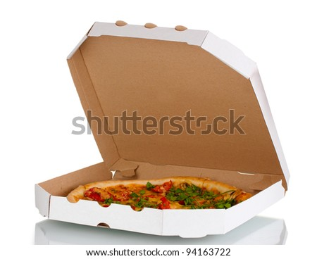 delicious pizza with sausage and vegetables in the package isolated on white