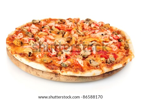 Delicious pizza with seafood on wooden stand isolated on white