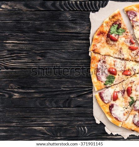 delicious pizza with text space