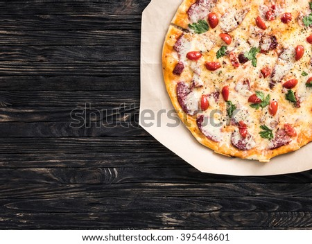 delicious pizza with text space - stock photo