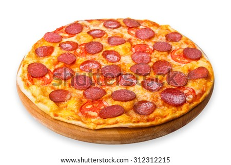 Delicious pizza with tomatoes and pepperoni - thin pastry crust at wooden round desk isolated at white background - stock photo