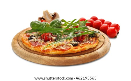 Delicious pizza with vegetables and herbs, isolated on white