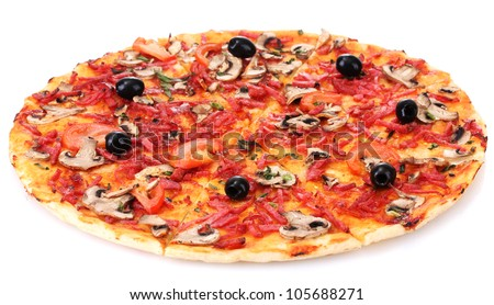 delicious pizza with vegetables and  salami isolated on white - stock photo