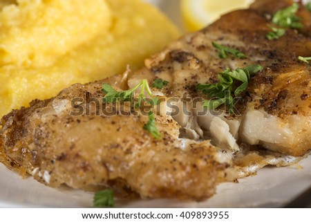 Delicious plate of fresh fried carp with polenta - stock photo