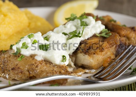 Delicious plate of fresh fried carp with polenta and garlic sauce - stock photo