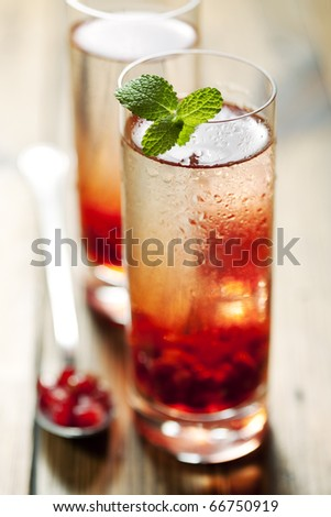 delicious pomegranate cocktail, shallow dof - stock photo