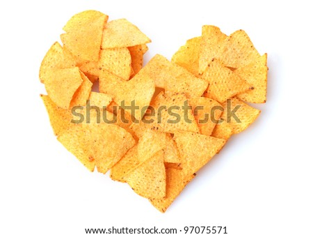 Delicious potato chips heart shape isolated on white