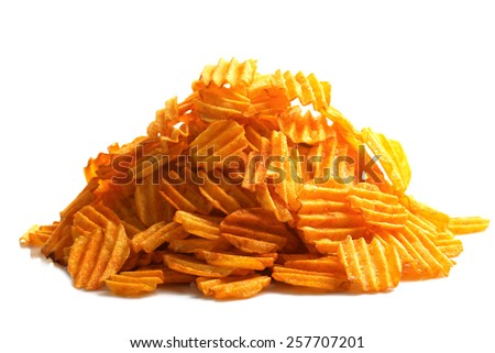 Delicious potato chips isolated on white - stock photo