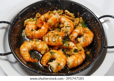 delicious prepared shrimps in the fry pan - stock photo