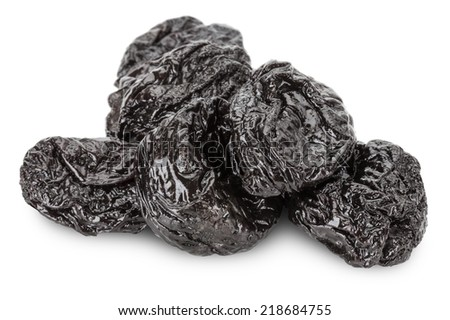 delicious prunes isolated on the white background - stock photo