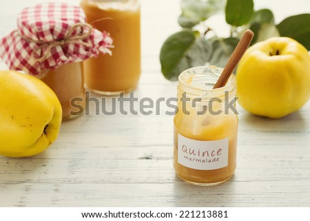 Delicious quince and lemon marmalade, homemade  - stock photo