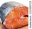Delicious raw fresh salmon close up - stock