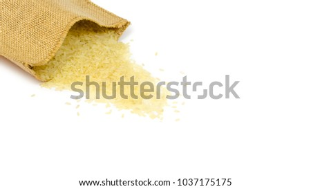 delicious raw rice for healthy diet. Isolated on white background. copy space, template