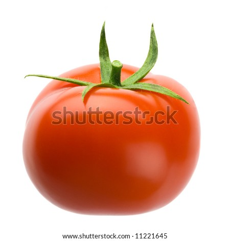 Delicious red plump tomato isolated over white background - stock photo