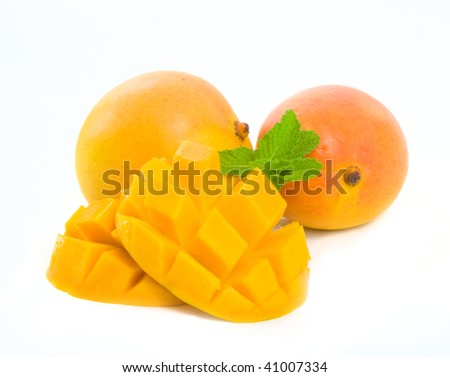 Delicious ripe Mango sliced ready for eating.  Isolated over white background - stock photo