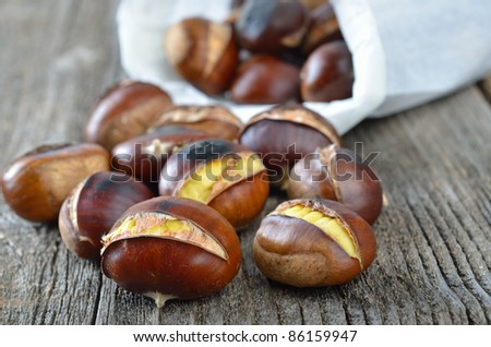 Delicious roasted chestnuts - stock photo