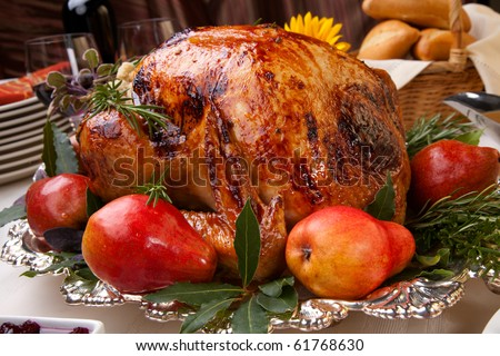 Delicious roasted turkey with savory vegetable side dishes in a fall theme