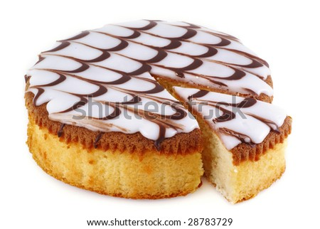 Delicious round cake on a white background.