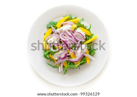 Delicious Rucola Salad on a plate isolated on white - stock photo