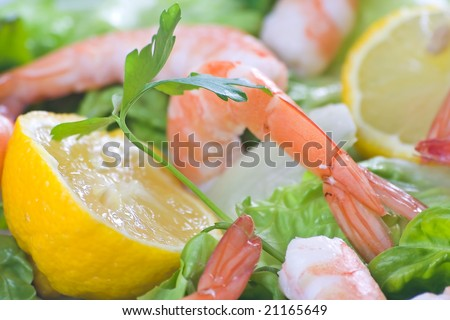 delicious salad of fresh prawns prepared to eat