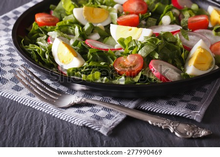 Delicious salad with eggs, radishes and sorrel close up on the table. horizontal - stock photo