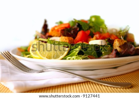 Delicious Salad With Fork and Napkin - stock photo