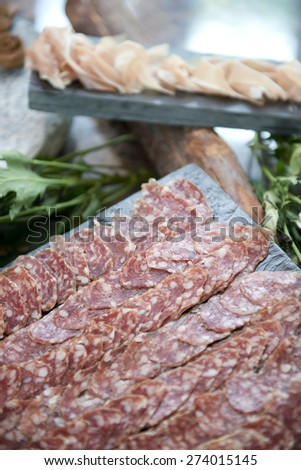 delicious salami ham for dining, food - stock photo