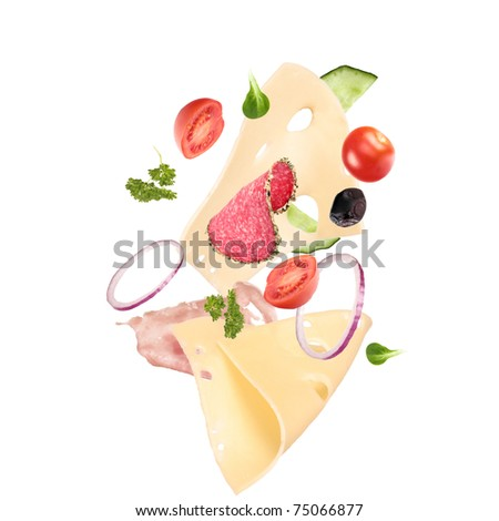 Delicious sandwich ingredients in the air - stock photo