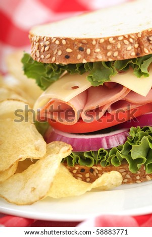 Delicious sandwich with ham, cheese, tomato, onion and lettuce, served with chips - stock photo
