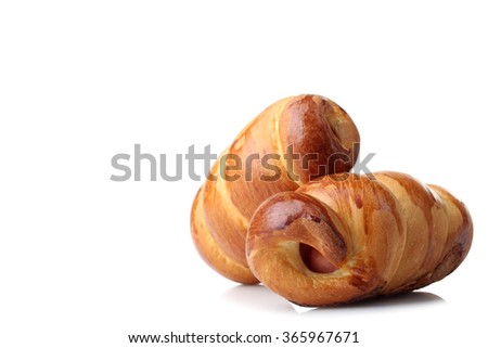 delicious sausage in the dough isolated on white background - stock photo
