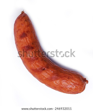 Delicious sausages on a white background - stock photo