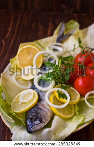 Delicious sea fish mackerel - stock photo