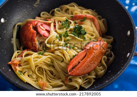 delicious sea plate in pan - stock photo