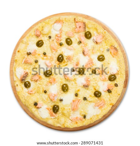Delicious seafood pizza with salmon, capers and olives - thin pastry crust isolated at white background, above view - stock photo