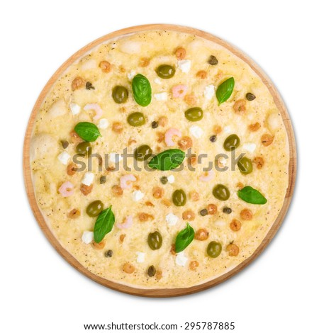 Delicious seafood pizza with shrimps, calamari rings, capers and olives - thin pastry crust at white background, above view - stock photo
