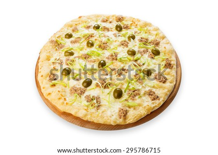 Delicious seafood pizza with tuna fish, olives and leek - thin pastry crust at white background isolated on wooden desk - stock photo