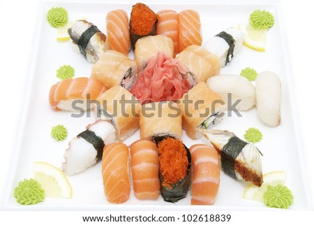 delicious seafood sushi at a Japanese restaurant