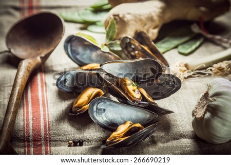 Delicious seasoned savory marine mussels lying on a cloth in a country kitchen with a wooden, spoon waiting to be served as a gourmet appetizer - stock photo