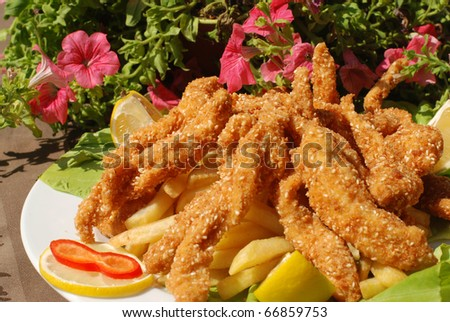 Delicious Sesame and Honey Chicken Sticks - stock photo