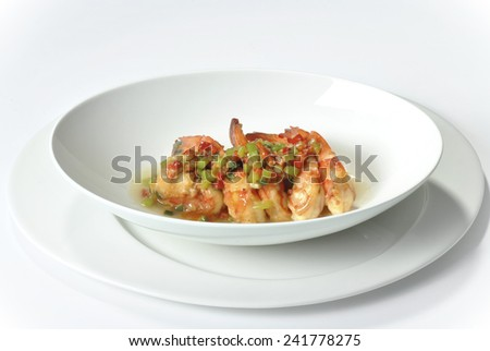 Delicious shrimp cocktail. Isolated on white background. - stock photo