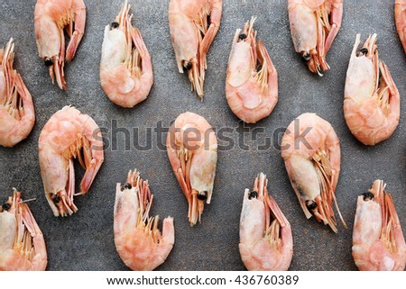Delicious shrimps on the table - stock photo