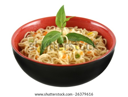 Delicious Singapore noodle soup with Vietnamese mint. - stock photo