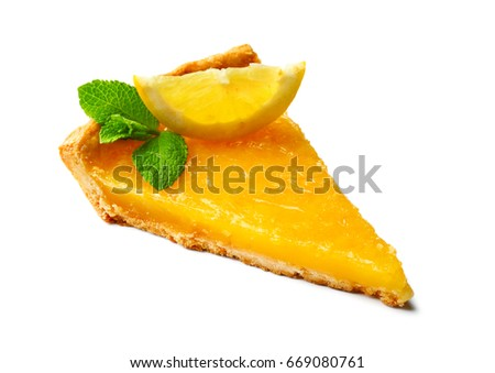 Delicious slice of homemade tart with lemon and mint on white background