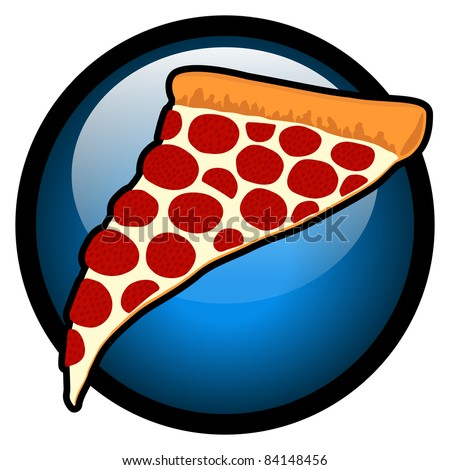 Delicious Slice of Pepperoni Pizza Blue Symbol - High Resolution JPEG Version. (vector version also available). - stock photo