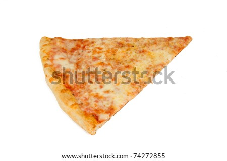Delicious Slice of Pizza Isolated on a White Background - stock photo