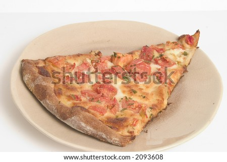 Delicious slice of tomato and garlic pizza with herbs - stock photo