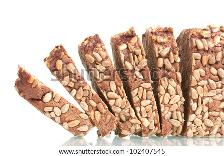 delicious sliced ??rye bread with sunflower seeds isolated on white - stock photo