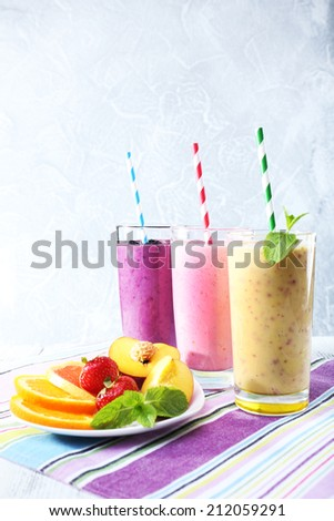 Delicious smoothie on table, close-up - stock photo