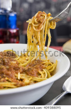 Delicious Spaghetti Bolognese with cheese