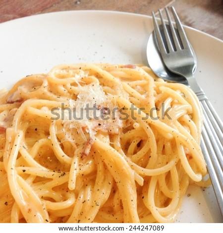 Delicious Spaghetti Carbonara  - stock photo